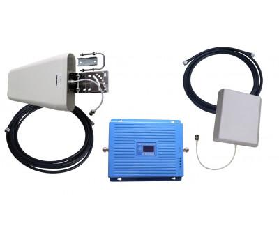 Усилитель репитер 2G GSM 900 и 1800 МГц 3G UMTS 900 и 2100 МГц 4G LTE 1800 и 2600 МГц до 300м², с антеннами